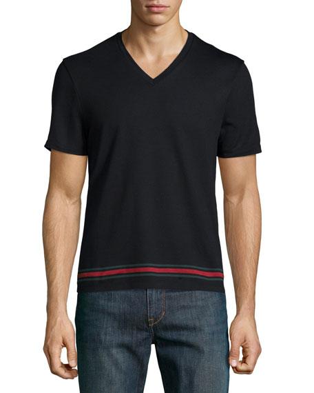 0590c9a22 Gucci Black V-Neck Short-Sleeve T-Shirt w/ Web Hem