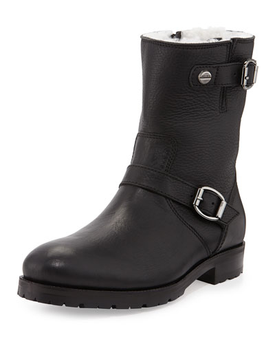 Stanford Calf Leather Moto Boot, Black