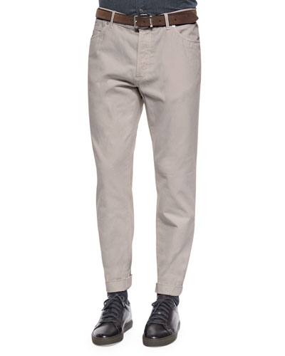 Five-Pocket Cotton Pants, Cream