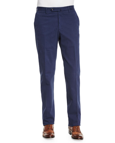 Standard-Fit Brushed Stretch Cotton Pants, Navy