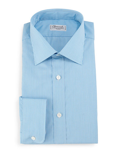 Check Barrel-Cuff Dress Shirt, Teal