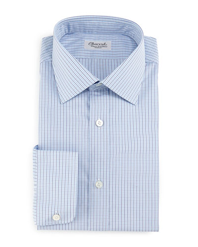 Plaid-Check Dress Shirt, Navy
