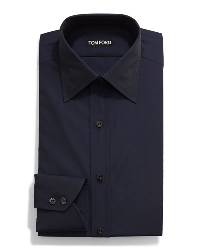 Classic Solid Dress Shirt, Navy