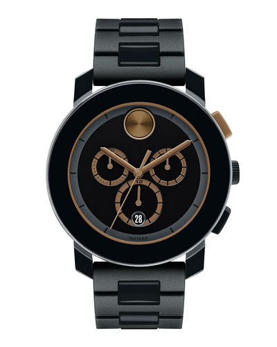 43.5mm Bold Chronograph Watch, Black/Gold