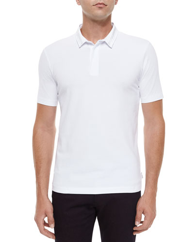 Short-Sleeve Polo Shirt with Double Collar, White