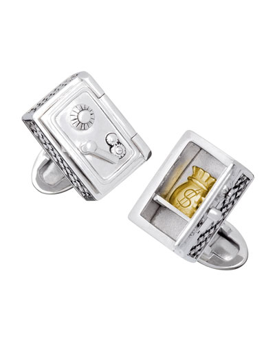Safe with Gold Money Bag Cuff Links