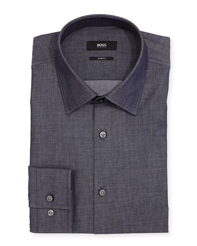 Slim-Fit Chambray Dress Shirt, Blue