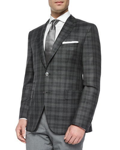 Windowpane Two-Button Sport Jacket, Charcoal