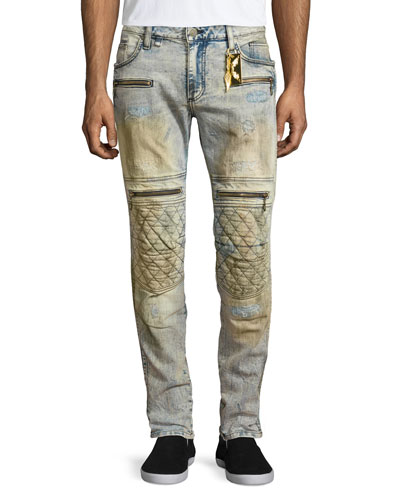 Racer Quilted-Knee Distressed Moto Jeans, Blue