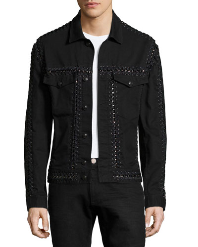 Long-Sleeve Jacket W/Woven-Stitch Detail, Black