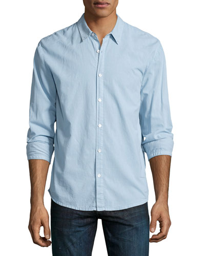 Long-Sleeve Woven Sport Shirt, Light Blue