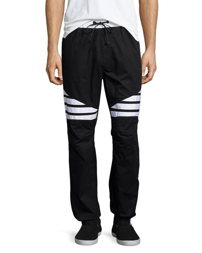 Striped Woven Jogger Pants, White/Black