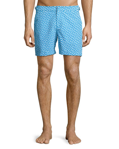Bulldog Printed Swim Trunks, Blue Pattern