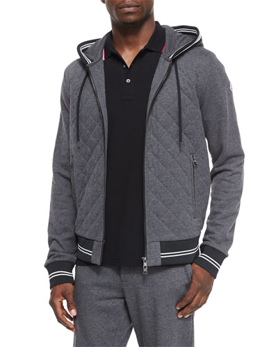 Diamond-Quilted Zip Hoodie, Gray