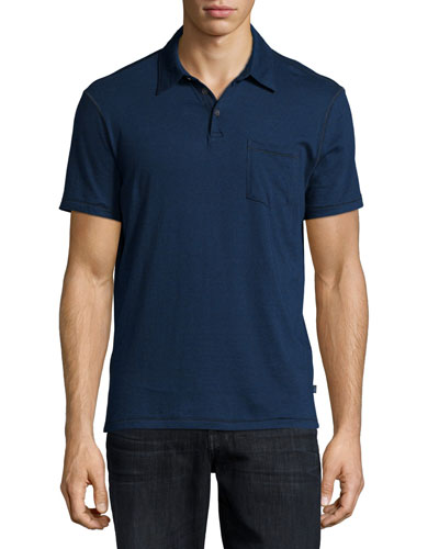 Mini-Stripe Short-Sleeve Polo Shirt, Dark Blue