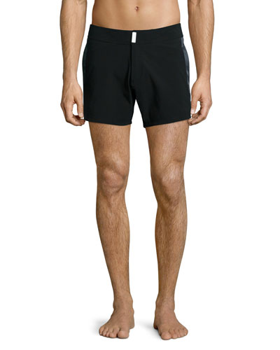 Midnight Tuxedo-Stripe Swim Trunks, Black
