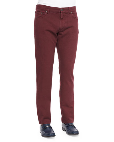 Five-Pocket Cotton Pants, Wine