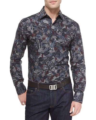Feather-Print Woven Sport Shirt, Multicolor