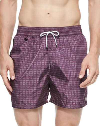Owl-Print Swim Trunks, Wine