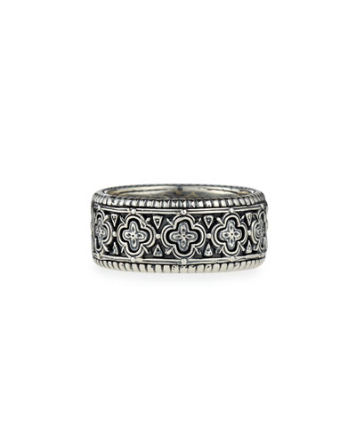 Classic Engraved Silver Band Ring, Men