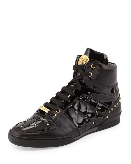 black Medusa patent leather sneakers Versace p1B1w