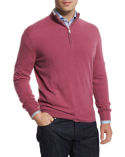 Cashmere Half-Zip Pullover Sweater, Red
