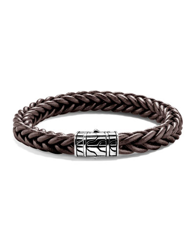 Men's Classic Chain Silver/Leather Bracelet, Brown