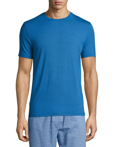 Short-Sleeve Stretch-Knit Tee, Blue