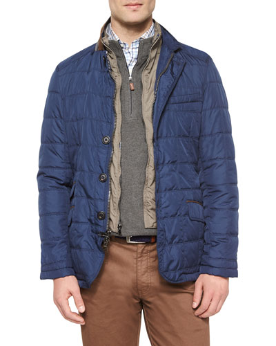 Turin Quilted Car Coat, Navy