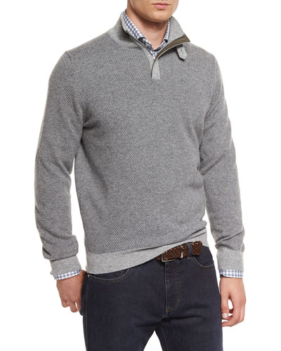 Diamond-Jacquard Quarter-Zip Pullover Sweater, Gray