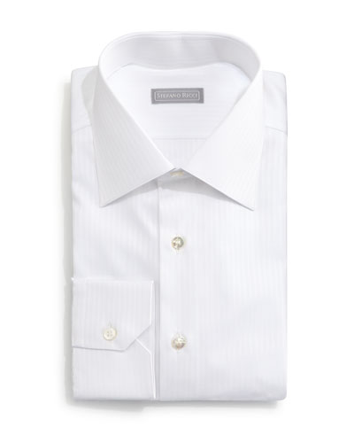 Basic White-On-White Striped Dress Shirt, White