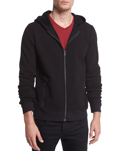 Faux-Sherpa Zip-Up Hoodie, Black