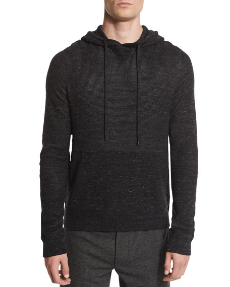 Vince Jaspe Thermal-Knit Pullover Hoodie, Black
