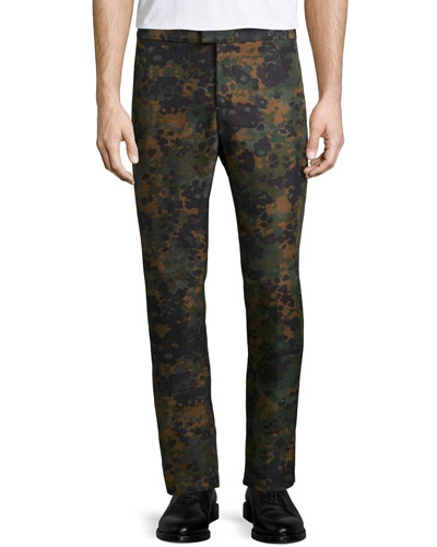 Camo-Print Flat-Front Trousers, Dark Green