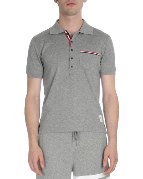 0787d7ca Thom Browne Stripe-Trim Pique Polo Shirt, Light Gray