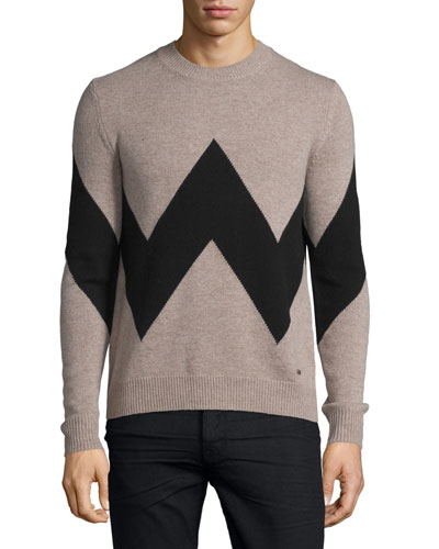 Exploded Herringbone Cashmere-Blend Sweater, Camel