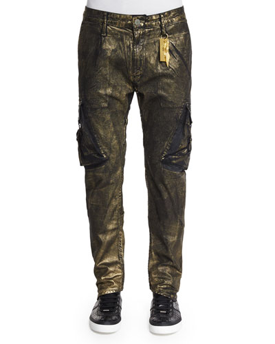 Arc Gold-Coated Cargo Jeans, Gold