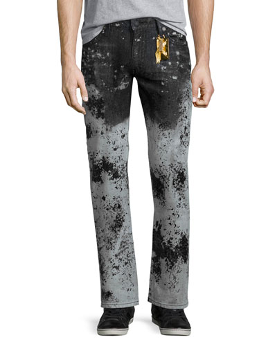 Faded Paint-Splatter Denim Jeans, White/Black