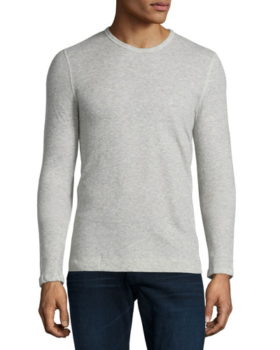 Cotton/Cashmere Crewneck Sweater, Gray