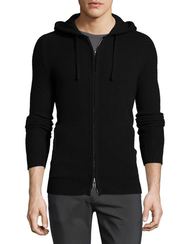 Cashmere Zip-Up Hoodie, Black