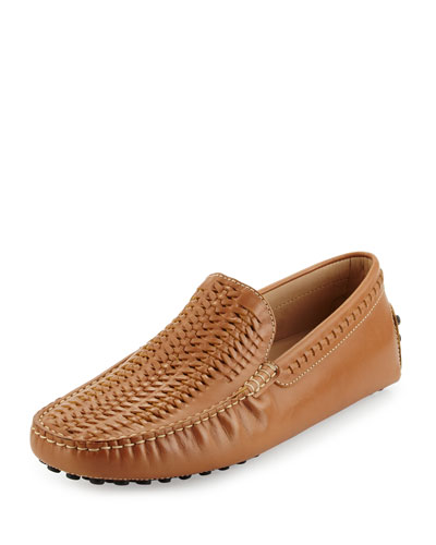Gommini Woven Leather Driver, Tan