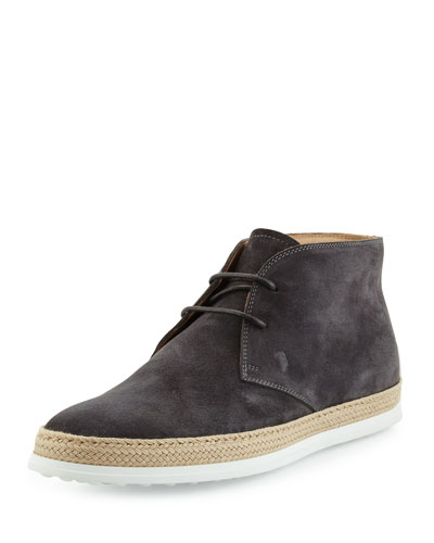 Suede Lace-Up Espadrille Boot, Dark Gray