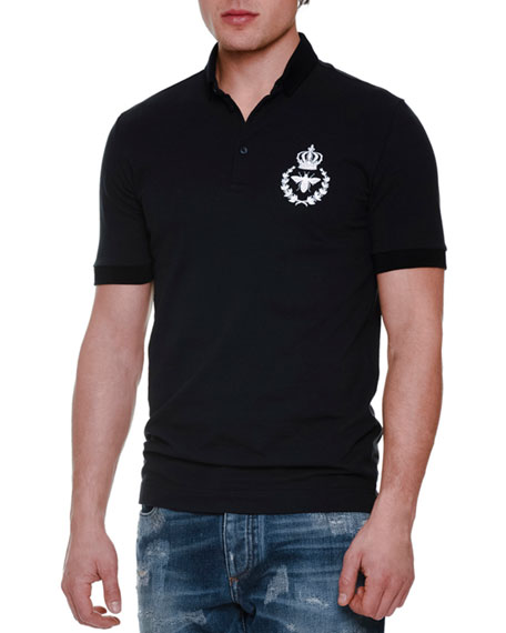 4175b78fb Dolce & Gabbana Short-Sleeve Polo Shirt with Crown/Bee Patch, Navy