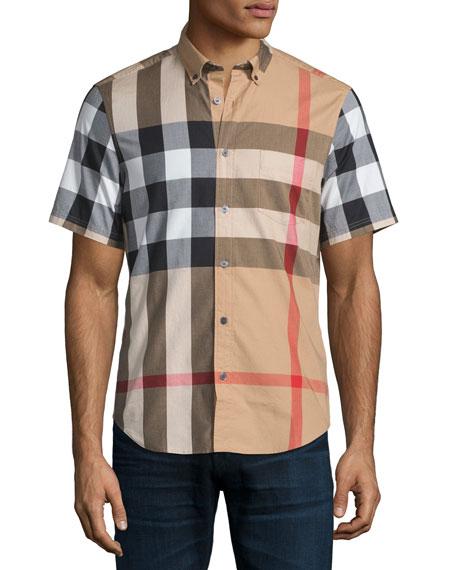0474e0295 Burberry Fred Check Short-Sleeve Woven Shirt, Camel