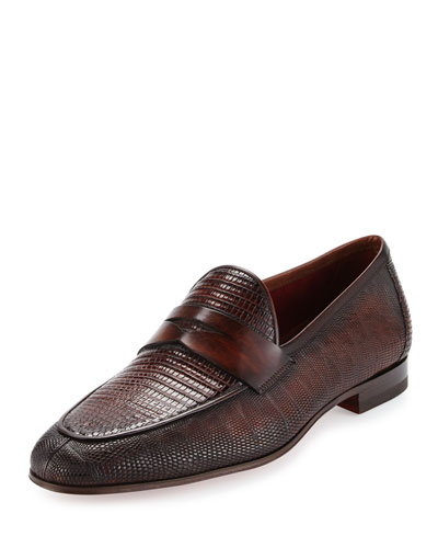 Lizard Leather Penny Loafer, Brown