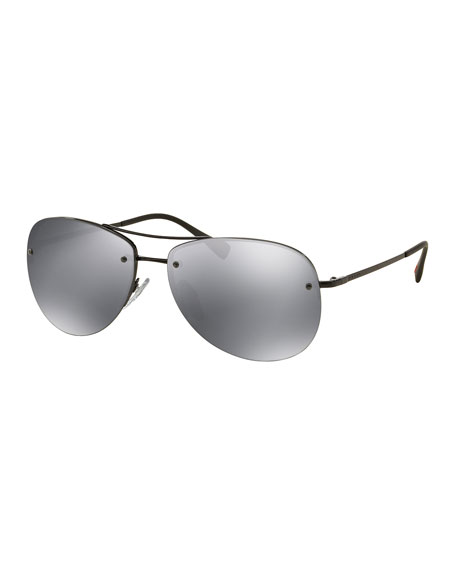 41c0ab95e7d05 Prada Rimless Metal Aviator Sunglasses