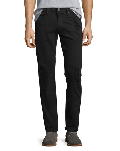 Tyler Distressed Slim-Fit Denim Jeans, Black Solace