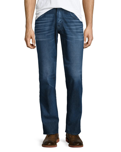 Byron Straight-Leg Denim Jeans, Dark Blue