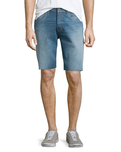 Hess Straight-Leg Cutoff Denim Shorts, Light Blue