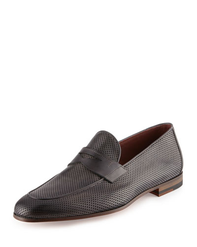 Perforated Leather Penny Loafer, Gray